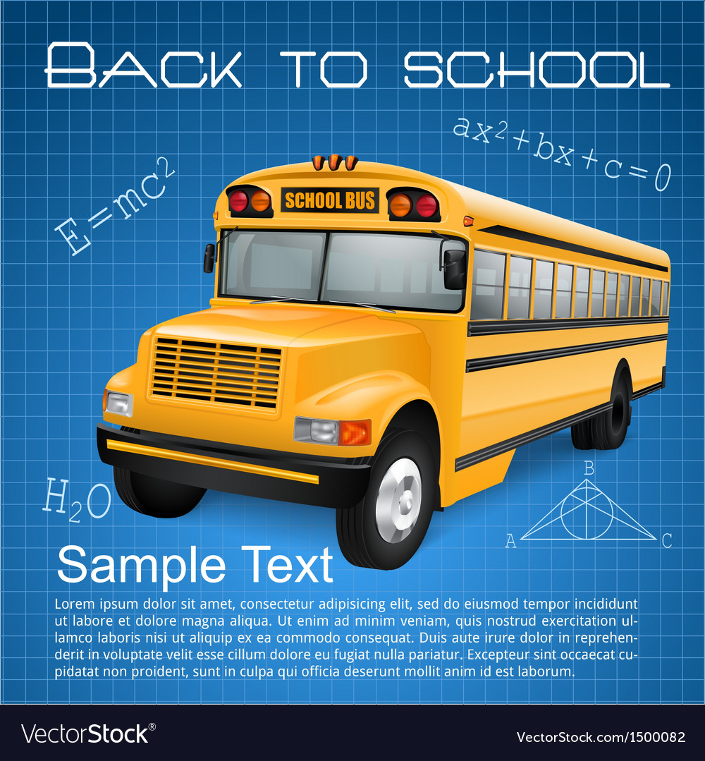 School bus with formulas vector