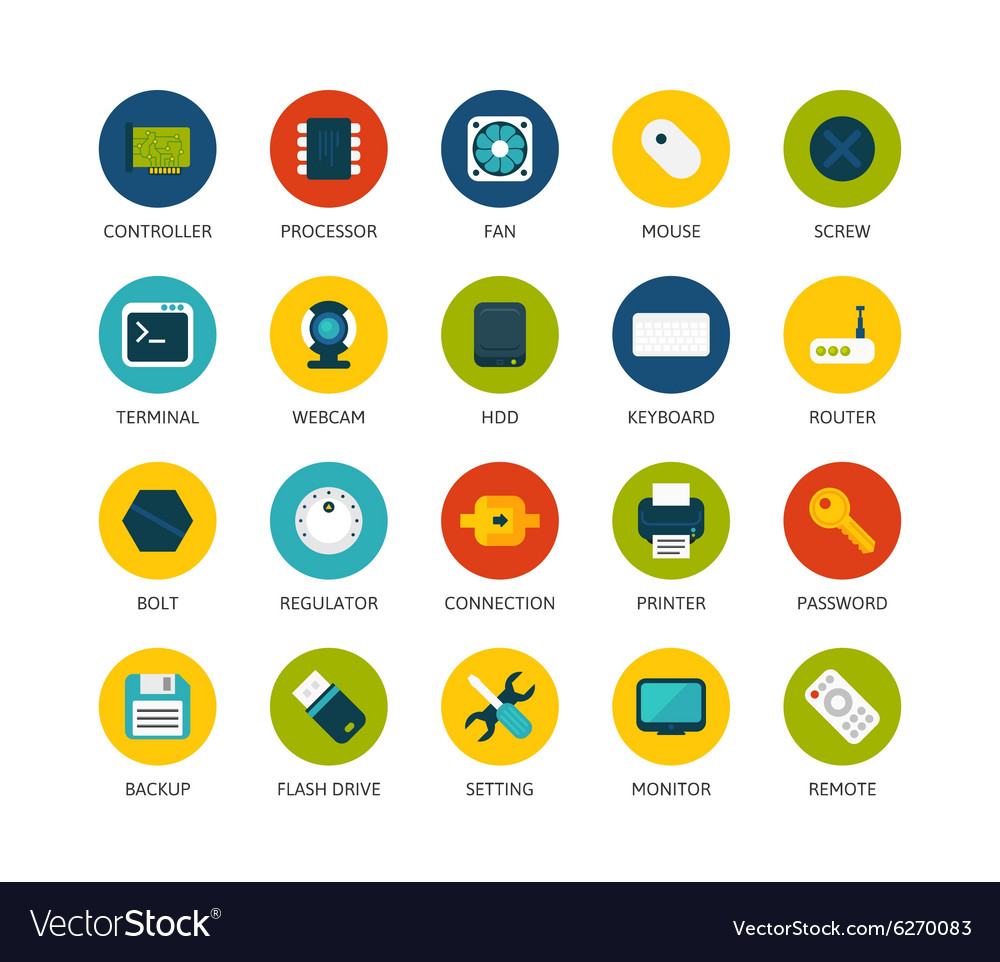 Round icons thin flat design modern line stroke vector