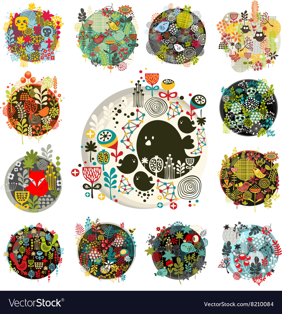 Cool set of round floral balls with birds and vector