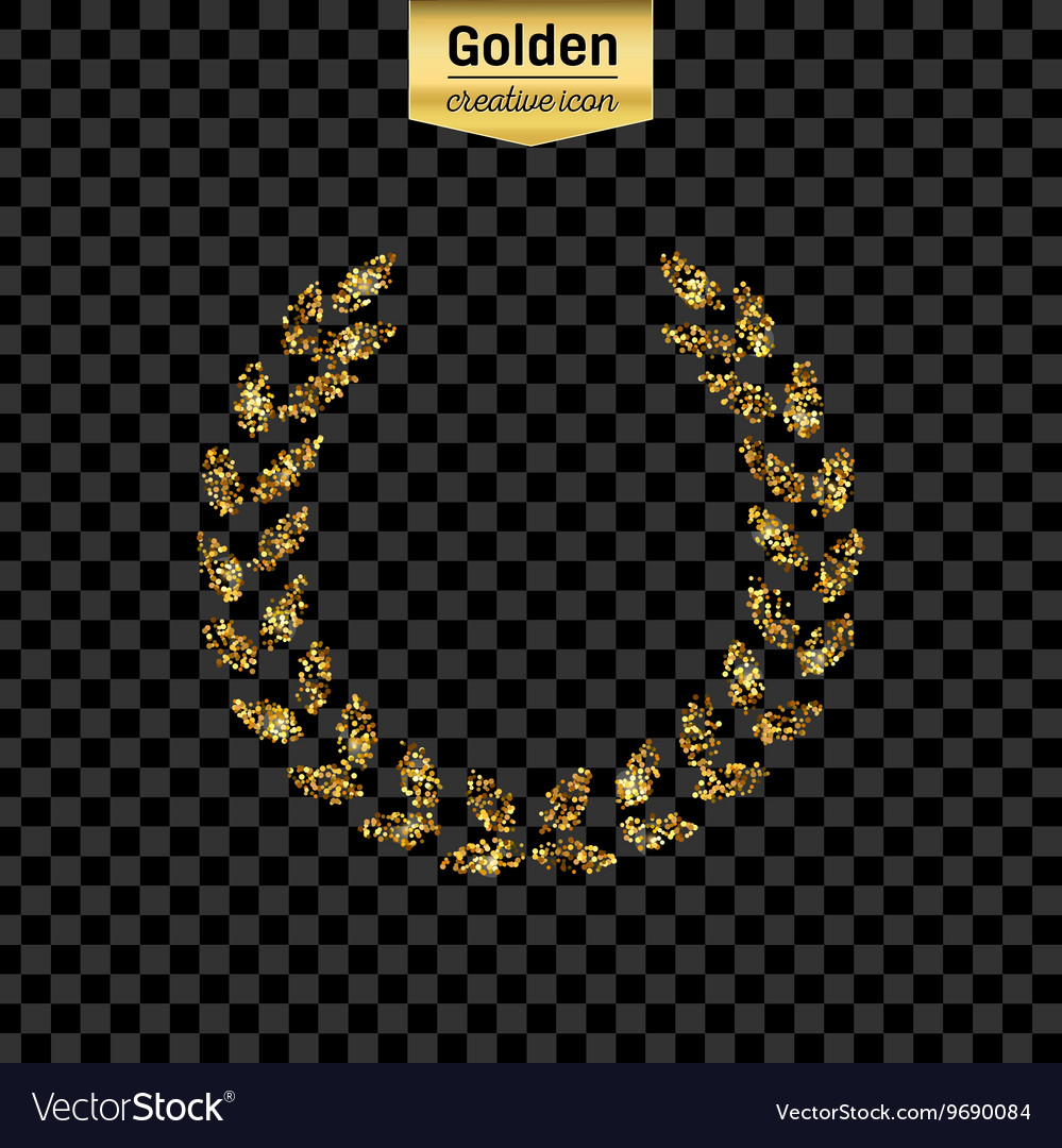 Gold glitter icon of laurel wreath isolated vector
