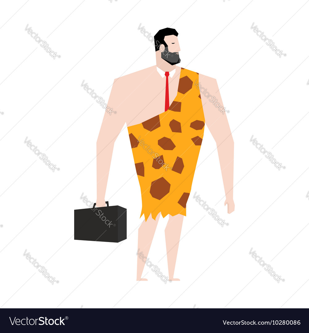 Businessman prehistoric ancient boss in skin of vector