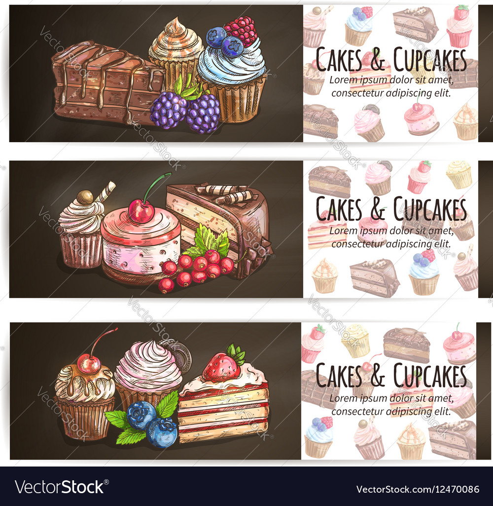 Cupcakes cakes pastries desserts poster vector