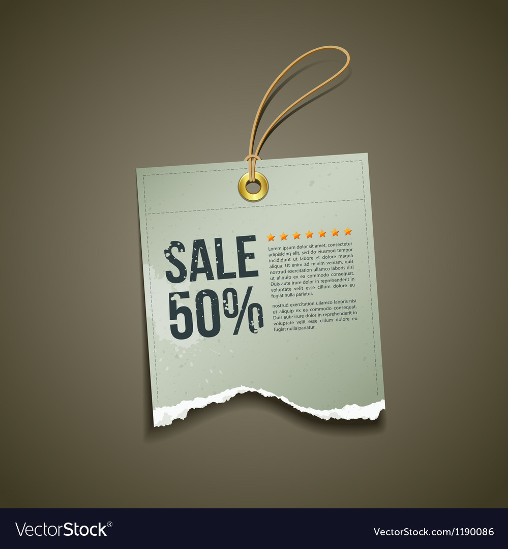 Vintage label ripped paper sale vector