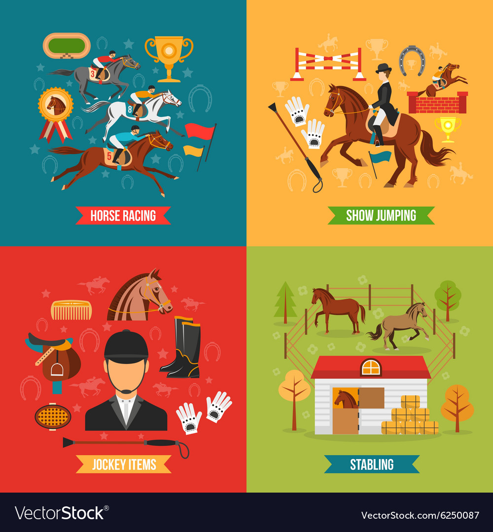 Horse riding design concept set vector