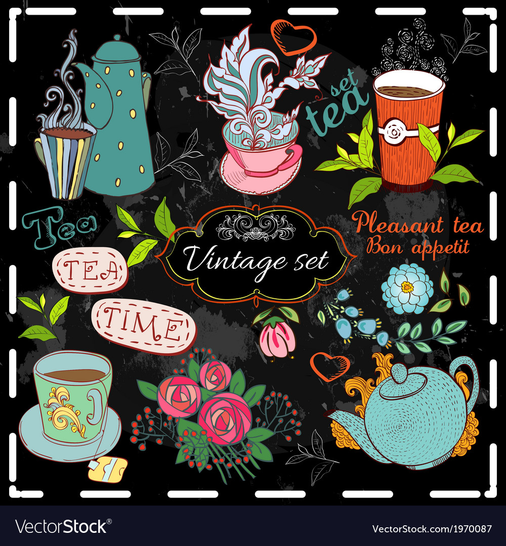 Set of tea collection vector