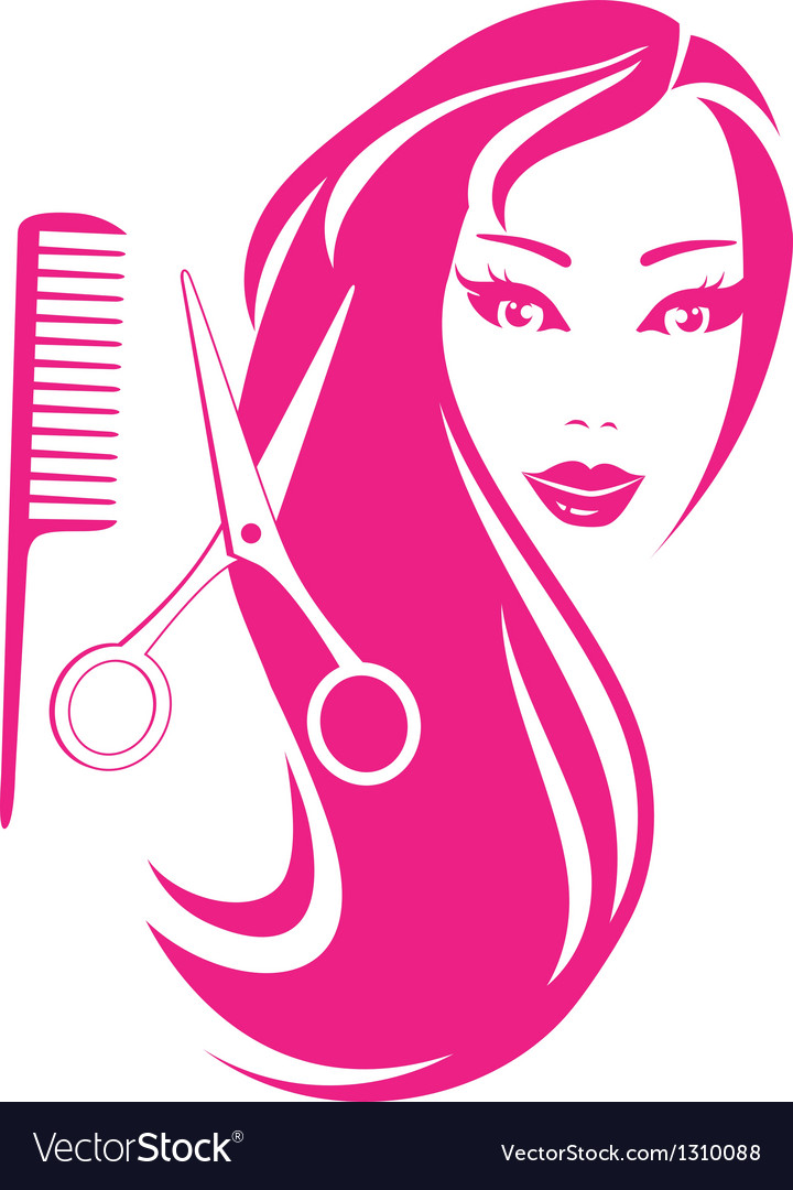 Beautiful girl with scissors and comb vector