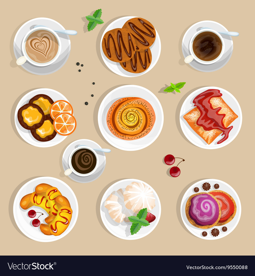 Coffee and sweets top view set vector