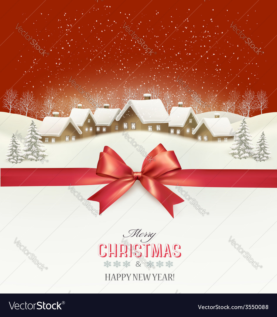 Holiday christmas background with a village and a vector