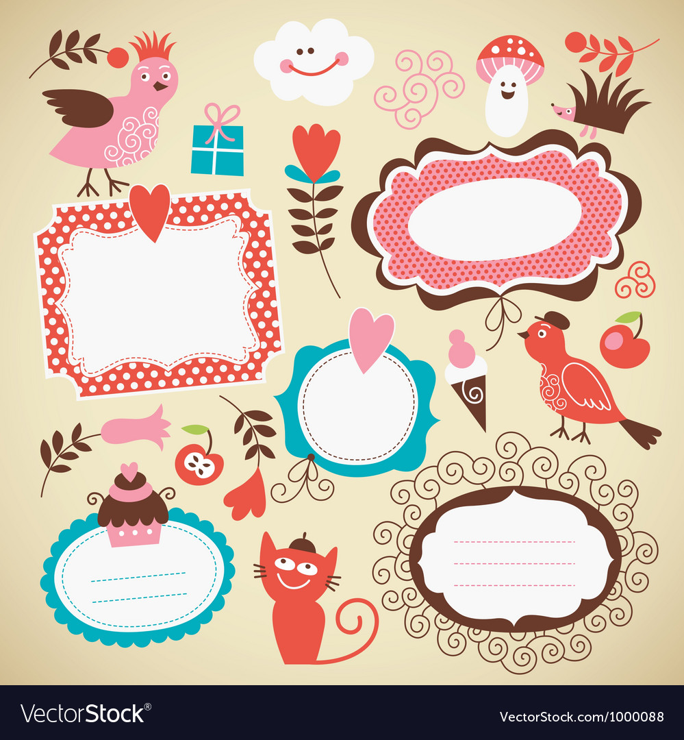 Set of frames and decor elements vector