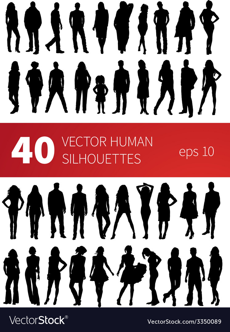 Silhouettes of people in various poses isolated on vector