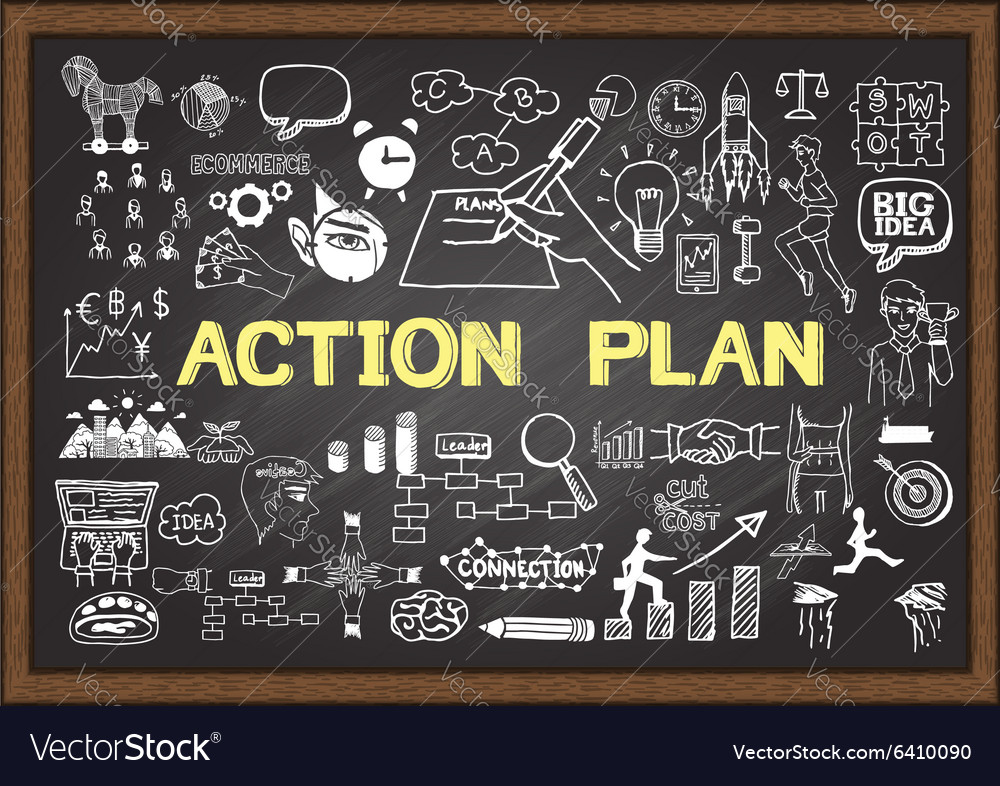 Action plan on chalkboard vector