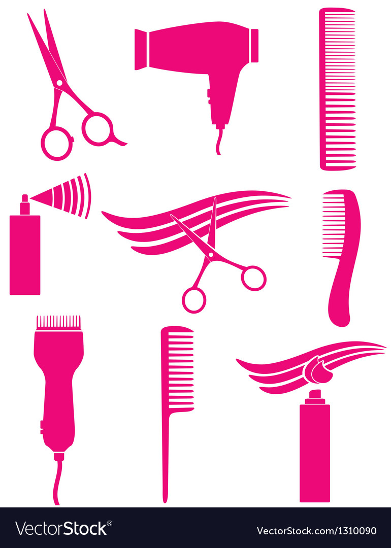 Set of hairdresser tools vector