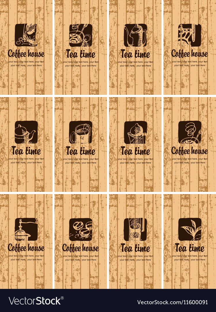 Business cards on the theme of tea vector