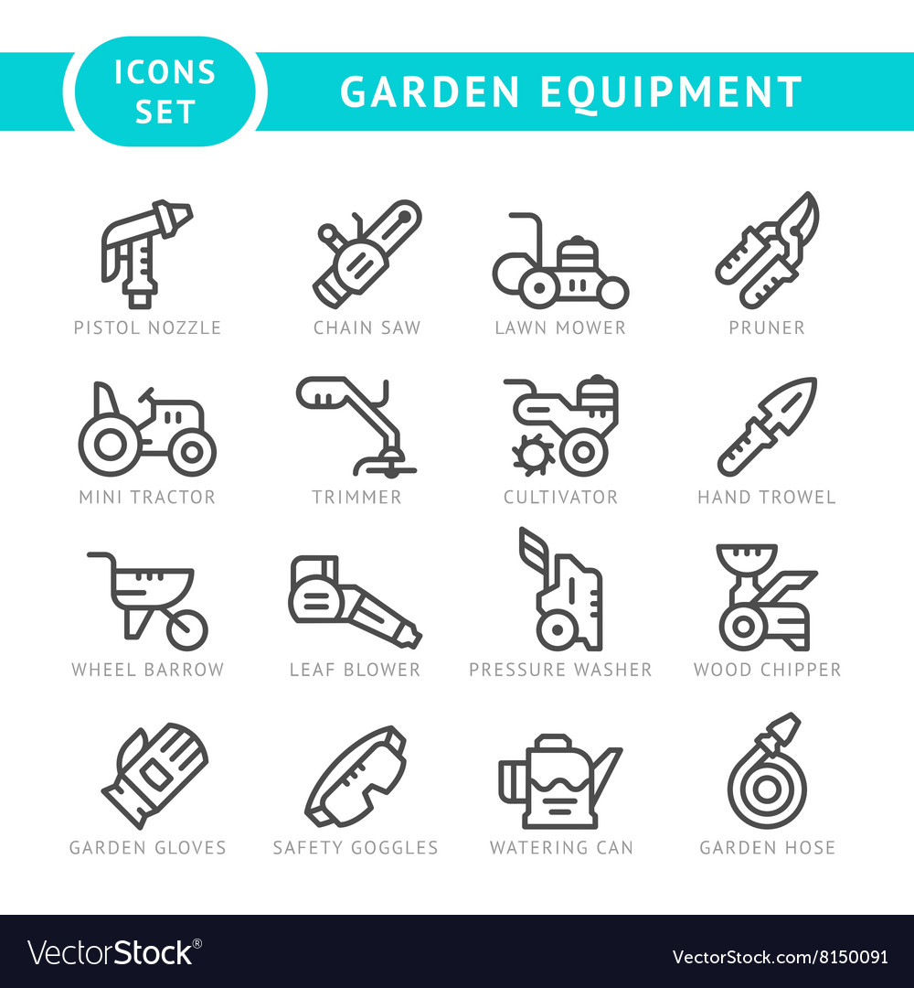 Set line icons of garden equipment vector