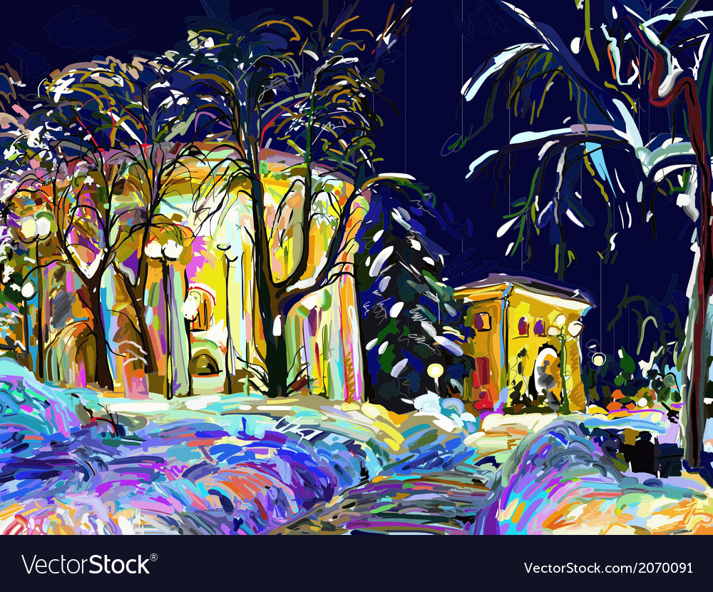 Winter night cityscape digital painting vector
