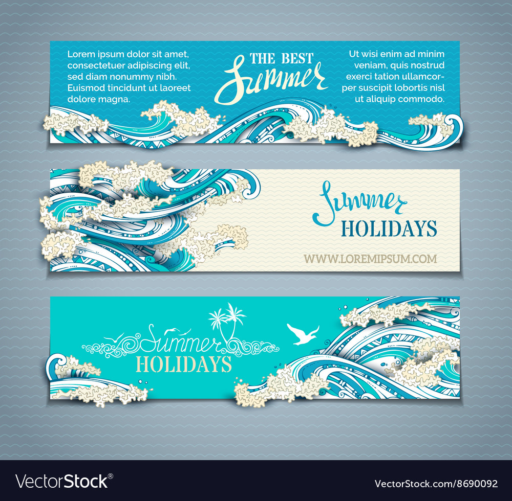 Set of seaocean horizontal banners vector