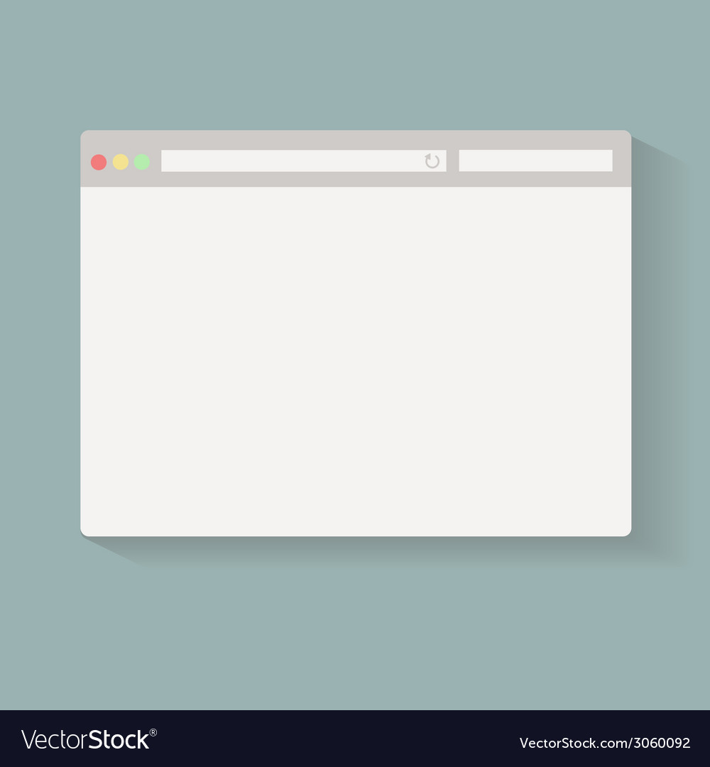 Simple browser window on blue back ground vector