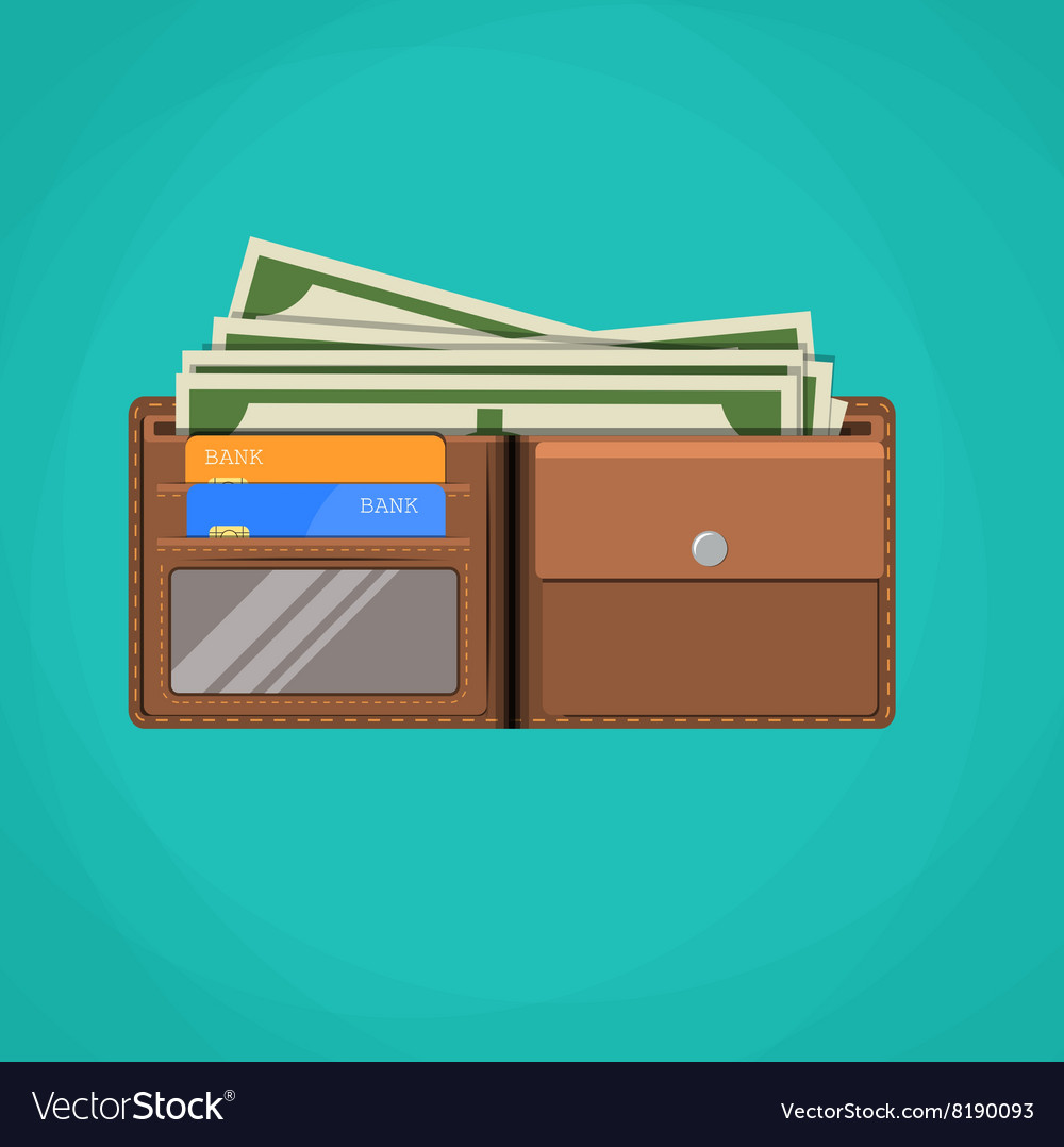 Flat wallet card and cash vector