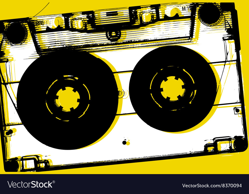 Concept retro music background heart from tape an vector