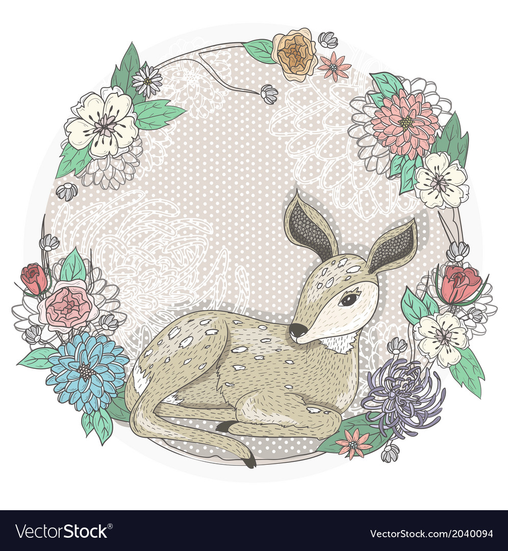Cute baby deer and flowers frame vector