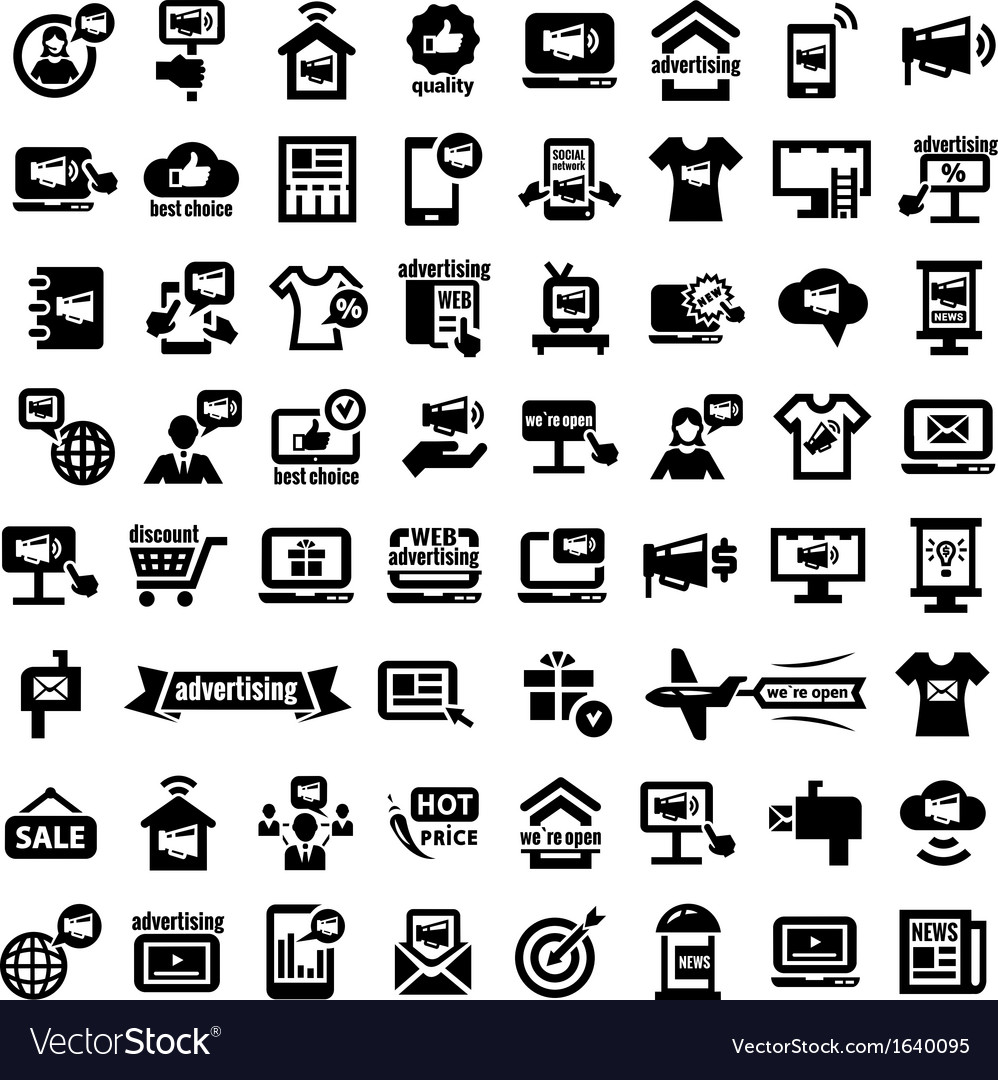 Big advertising icons set vector