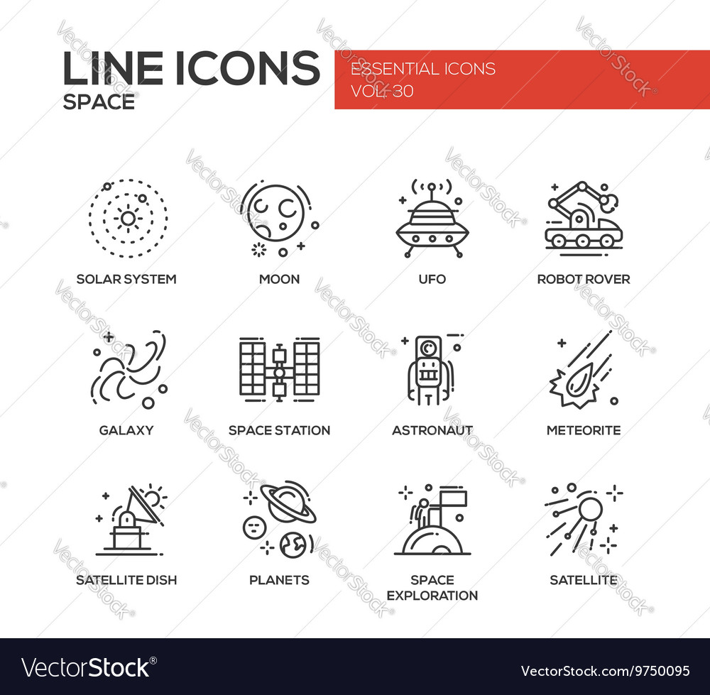 Space  line design icons set vector