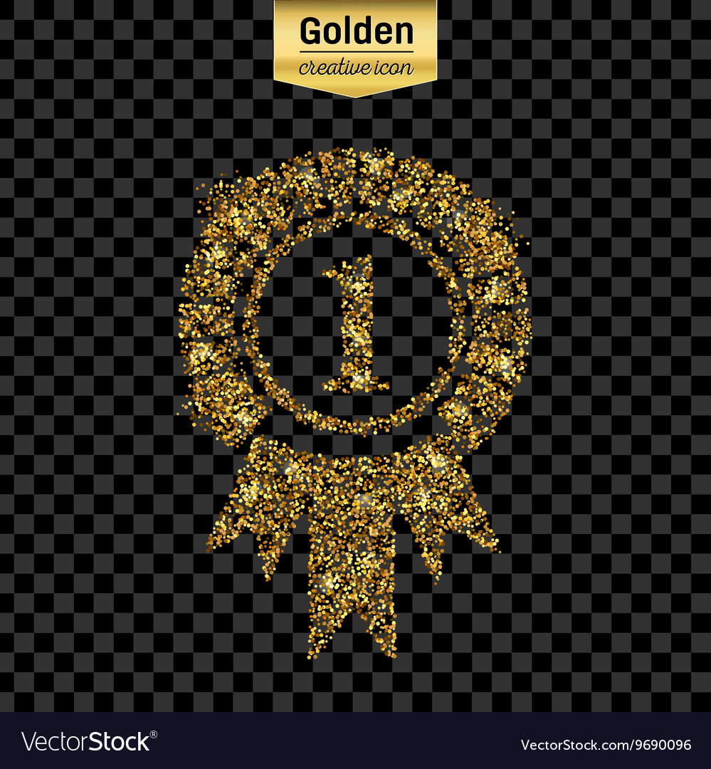 Gold glitter icon of trophy medal isolated vector