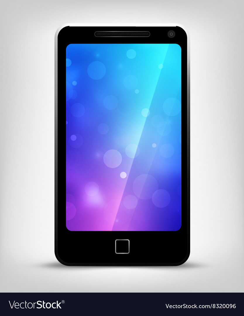 Realistic mobile phone with bokeh background on vector