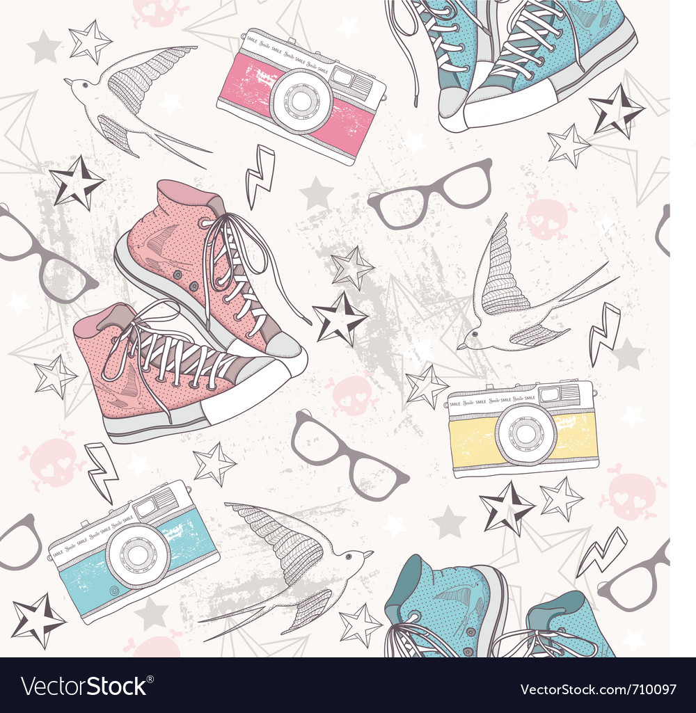 Cute grunge abstract seamless fun pattern vector