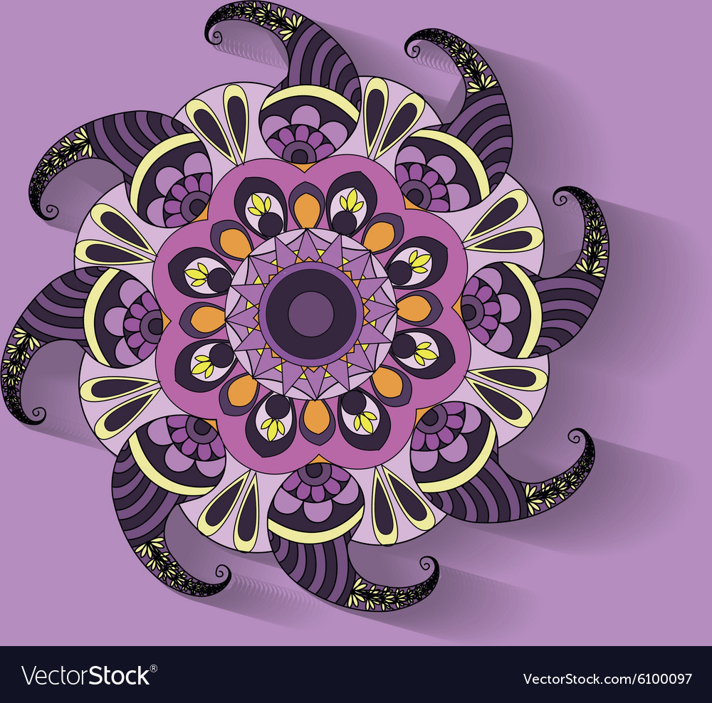 Purple pattern circle ornament vector