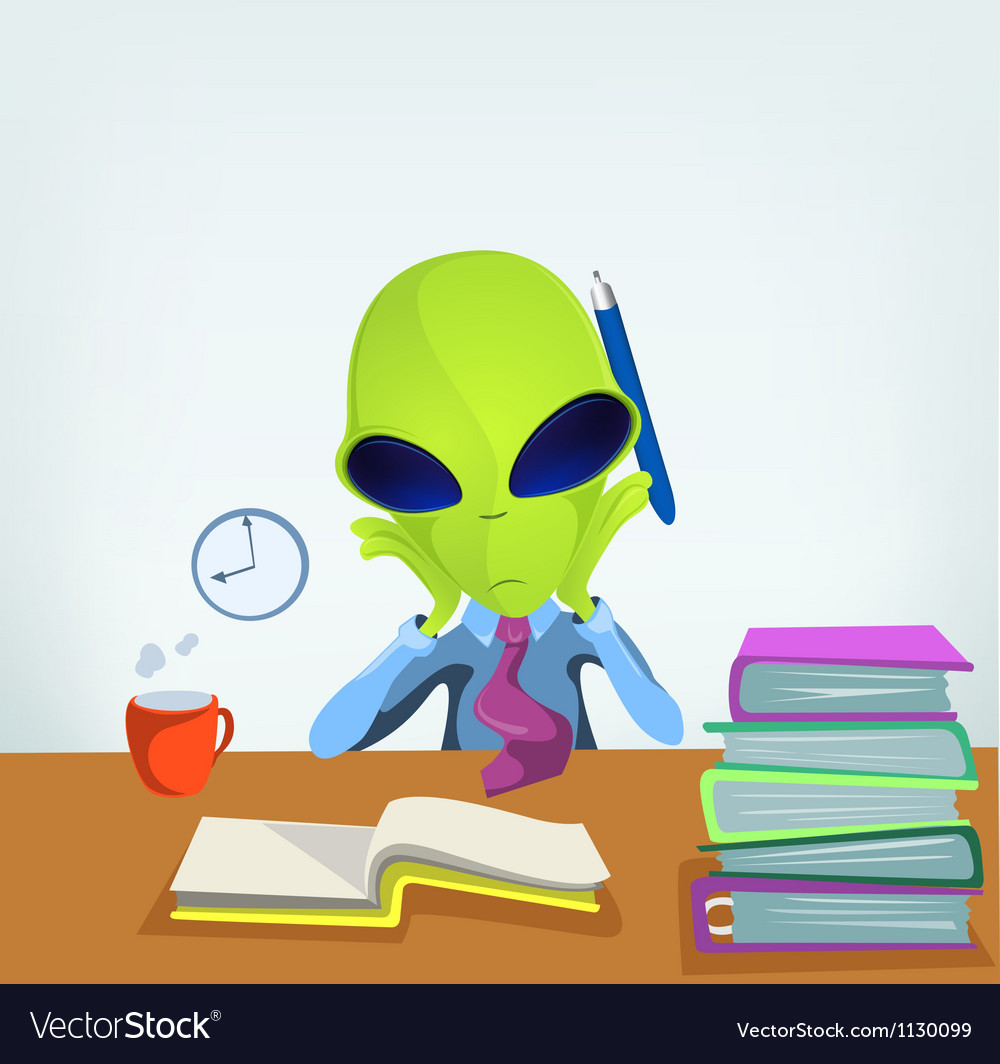 Cartoon office worker alien vector