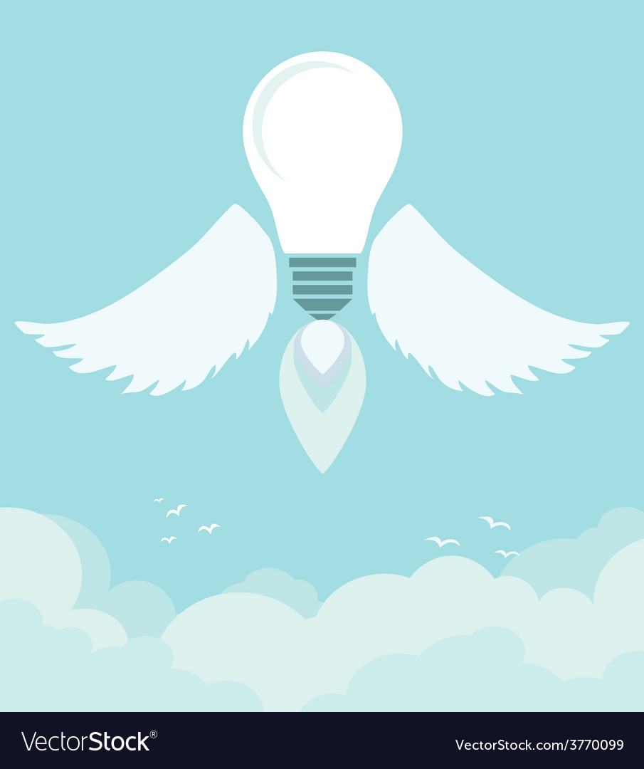 Flying winged ideas in the sky vector