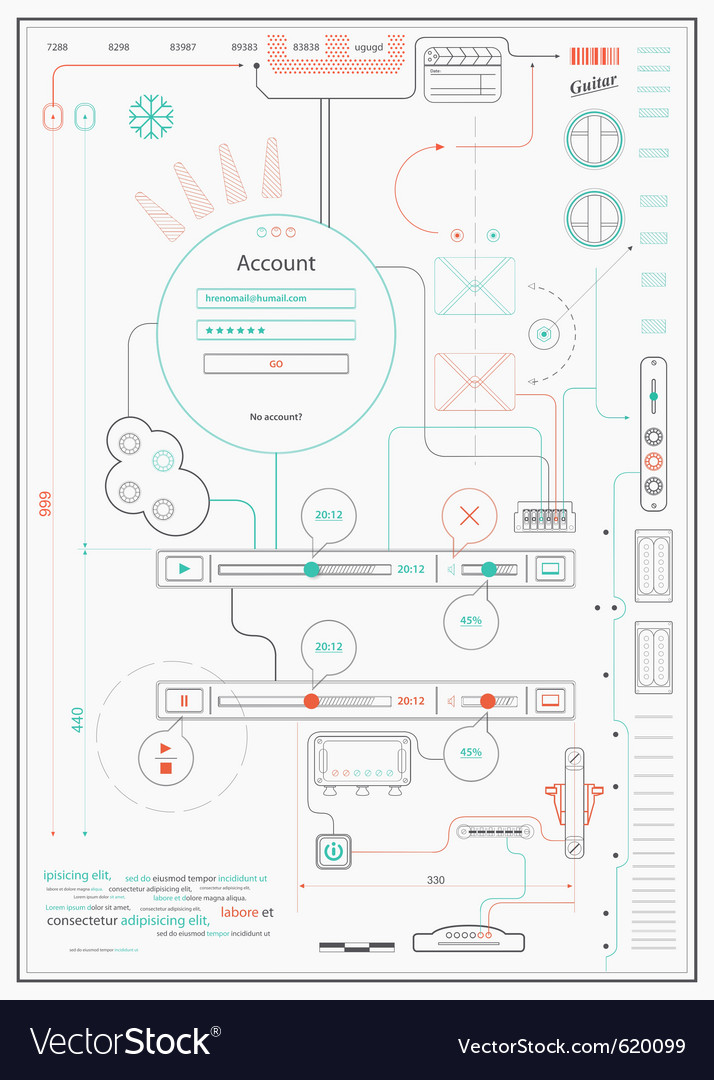 Infographics drawing a schematic abstraction vector