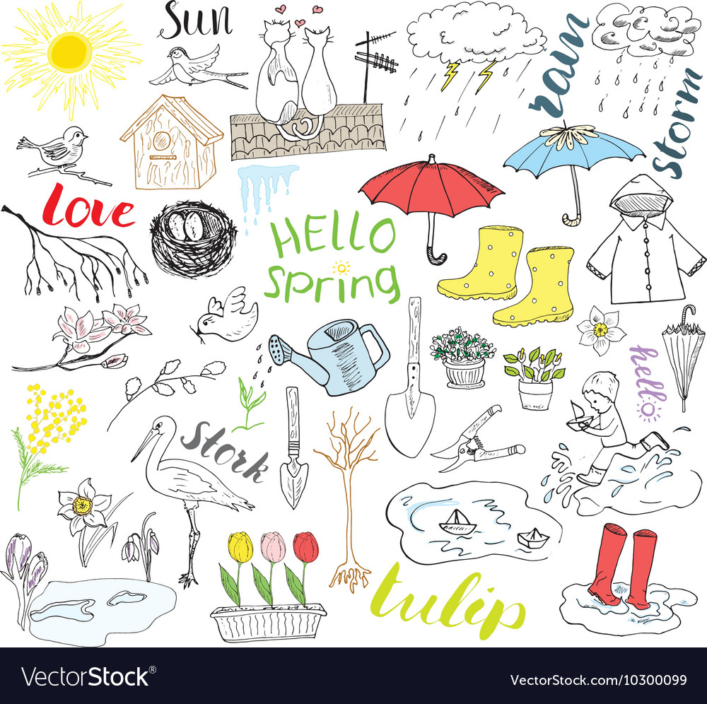 Spring season set doodles elements hand drawn vector