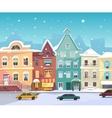 Sunny City street at Winter Cartoon buildings vector image