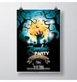 Halloween Zombie Party Flyer Design with moon vector image vector image