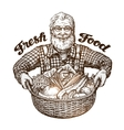 Farmer with basket of fresh vegetables Sketch vector image