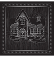 Christmas handdrawn house and floral frame vector image