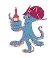 Cunning octopus-pirate with a bottle of alcohol in vector image