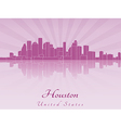 Houston skyline in purple radiant orchid vector image