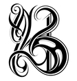 Letter B calligraphic vector image