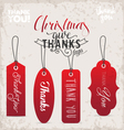 Red Christmas Gift Thank You Tags in Vintage Style vector image vector image