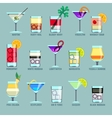 Alcohol drinks and cocktails flat icons vector image