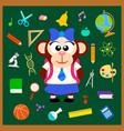 back to school seamless background with monkey vector image