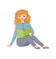 flat woman sitting with book vector image