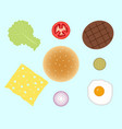 Hamburger or burger ingredients isolated on vector image