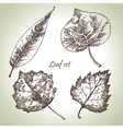 Hand drawn leaf set vector image