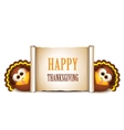 Happy Thanksgiving card Cartoon turkeys in a vector image