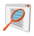 Magnifying glass at the monitor vector image