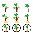 Palm trees exotic holidays on beach icons vector image